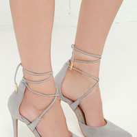 LULUS Michele Grey Lace-Up Heels