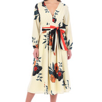 Feminine pleated floral print crepe dress