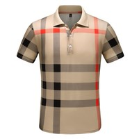 BURBERRY Summer Trending Men Casual Classic Plaid Lapel Shirt Top Khaki