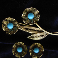 Floral Brooch Set, Pierced Earrings, Turquoise, Filigree, Antiqued Gold, Demi Parure