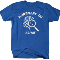 Unisex Best Friend Shirts Partners In Crime Fingerprint Hipster T-Shirt Funny Shirts Couples Matching Tees For Besties BFF's