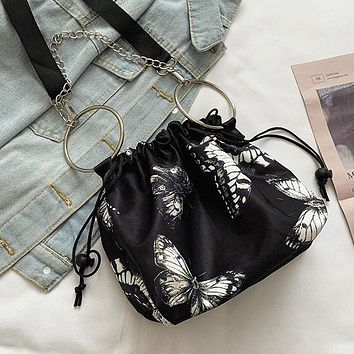 New women's butterfly butterfly print ring chain drawstring shoulder bag