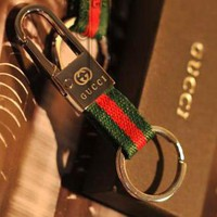 GUCCI Fashion Personality Red Green Stripe Canvas Car Key Ring Stainless Steel Key Pouch I12530-1