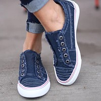 Flat casual denim canvas two-color stitching free sports single shoes Blue