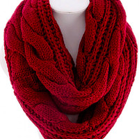 cozy soft cable knit infinity scarf , red