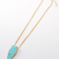 Gold Geometry Green Faceted Stone Chain Necklace
