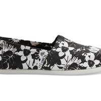 TOMS Black and White Tropical Print Women's Classics Black
