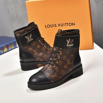 lv louis vuitton trending womens men leather side zip lace up ankle boots shoes high boots 222