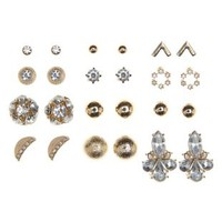 Rhinestone & Metal Stud Earrings - 12 Pack by Charlotte Russe