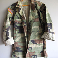 Vintage Camo Army Jacket Shirt Camouflage Paratrooper Airborne US Military Small