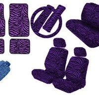 Premium New Style Car Truck Purple Zebra 15pc Low Back Front Seat Covers, Bench Seat Cover with Head Rest, Steering Wheel Cover with Shoulder Pads & 4pc Front & Rear Floor Mats & Bonus Detailing WashMitt