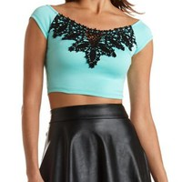 Off-The-Shoulder Crochet Crop Top by Charlotte Russe