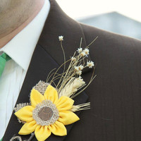 Rustic wedding fabric flower sunflower boutonnieres wedding prom flowers barn wedding