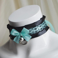 Premade Kitten play collar - Turquoise darkness - black gothic pleated ruffled choker - BDSM proof kittenplay pet princess abdl ddlg