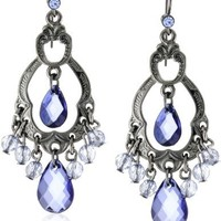 1928 Jewelry Classic Blue Chandelier Earrings