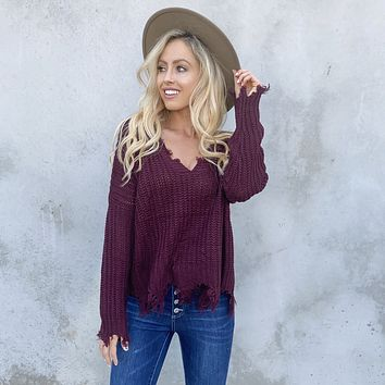 Jagged Edge Knit Sweater In Wine