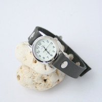 Handmade gray leather bracelet wrap around wrist with silver watch face - Free Shipping