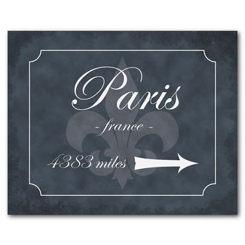 Paris Sign - Paris Mileage - Paris France - Typography Wall Art - Travel - Fleur de lis - French script - distressed - miles to Paris