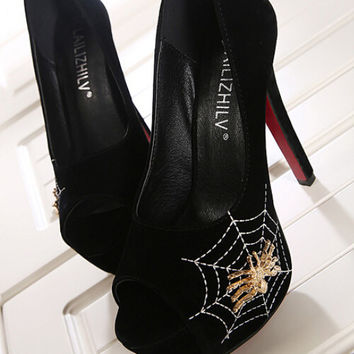 Women Spider Black Heels Cut out stilettos 5 inch heels
