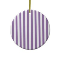 Bellflower Violet And Vertical White Stripes Christmas Ornaments from Zazzle.com