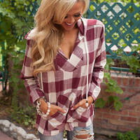 Mellow Beauty Wine Plaid Hoodie
