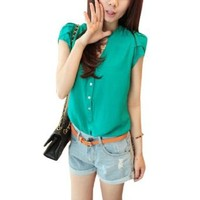 Allegra K Ladies Short Sleeve Single Breasted Front Pullover Summer Top Shirt Green XS: Clothing