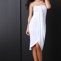 Draped Front Ruched Side Strapless Midi Dress