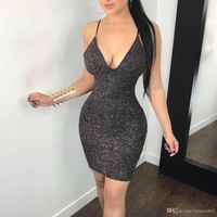 Women Sexy Hollow Back and Slim back Short Dresses Bodycon Sleeveless Evening Party Cocktail Club Short Mini Dress S M L XL