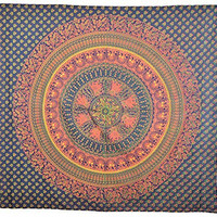 Twin Size Wall Tapestries Multi Color BIG Mandala Hippie Tapestry, Hippie Wall Hanging, Bohemian Tapestries, Queen Mandala Home Decor, TP4042