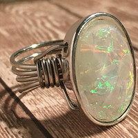 Rings, Boho, Silver, Faux, Opal, Unique, Oval, Bohemian, Summer, Wire Wrap, Statement, Sparkly, Iridescent, Hippie, Gypsy, Shiny, Pretty