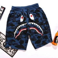 PEAP BAPE SHARK Fashion Shark mouth print Camouflage green blue purple shorts pants F Blue