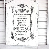 FRENCH Couture Clothing Goods Wood Sign Plaque Shabby Chic Rustic Cottage Chic Fancy Script Home Bedroom Wall Decor