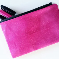 Funky Fuchsia And Gold Speckled Zipper Pouch With Lining