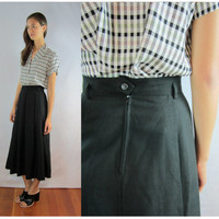 black SKIRT full swing PLEATED midi high waisted MEDIUM