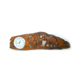 """Wood Carving Elephant Clock Natural Teak Wood Hand Carved Art Wall Hanging Home Decor / Gift 45""""x15"""""""
