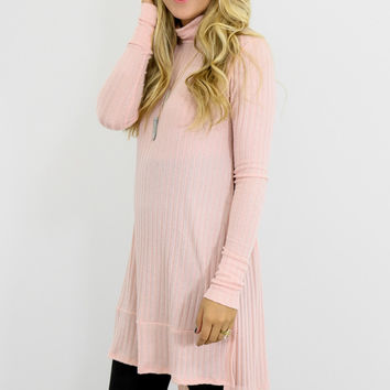 Long Story Pink Ribbed Turtle Neck Tunic