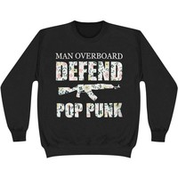 Man Overboard Men's  Floral Defend Pop Punk Sweatshirt Black
