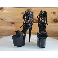 "Leopard Ankle Lace up 7"" High Heel Platform Shoe - Hand Crafted USA Size 7"