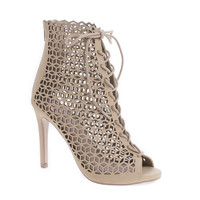 Profit Natural By Delicious, Lace Up Geometric Cut Out Stiletto Heel Ankle Bootie