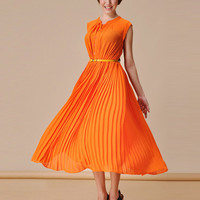 $ 48.59 Amazing Solid Color Sleeveless Pleated Dress