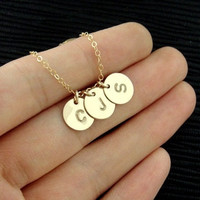 Initials necklace, gold filled necklace, simple jewelry, wedding jewelry,mother's gift