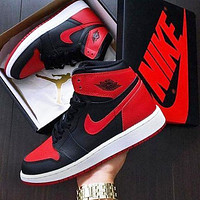 Nike Air Jordan 1 High OG Banned Sneakers Shoes Black Red