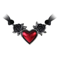 Alchemy Gothic Blood Red Heart & Black Roses Pendant Necklace
