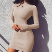 Fashion New Solid Color Long Sleeve Dress Women  Apricot