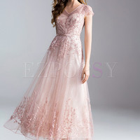 Lace Embroidery Nail Bead Big Hem Dress