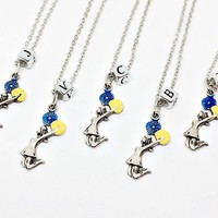 Cheerleading Squad Necklace: cheerleader / cheer dancer charm, letter block, initial, River Vixens