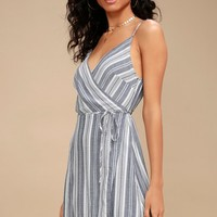 Pont Marie Blue and White Striped Wrap Dress