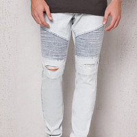 PacSun Stacked Skinny Ripped Moto Light Wash Stretch Jeans at PacSun.com