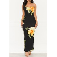 In My Dreams Floral Dress Black And Yellow