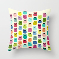 jelly bean owls Throw Pillow by Sharon Turner | Society6
